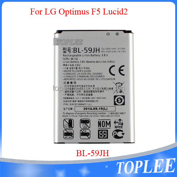 Cell Phone Battery Factory Price BL-59JH BL59JH Battery For LG Optimus F5 Lucid2 Optimus F3 P659 F6 D500 VS890 Enact 2460mAh
