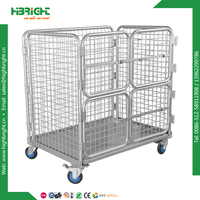foldable metal 4 wheel with braks roll container