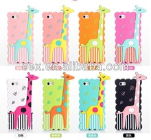 Wholesale - 3D Cartoon Animal Cute Sika Deer Giraffe Silicon Gel Shockproof Soft Back Case Cover For Apple iPhone 4 4G 4S 5 5G 5