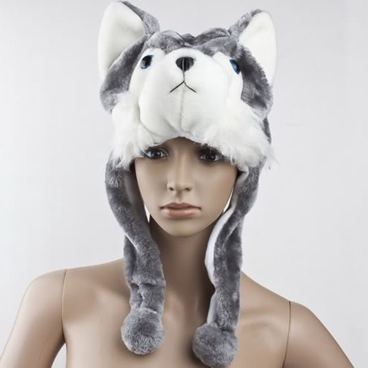 Cartoon Animal Wolf Cute Fluffy Plush promotional Cap Hat
