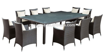 2017 TRADE ASSUARANCE Outdoor New design synthetic rattan latest garden dining table set designs