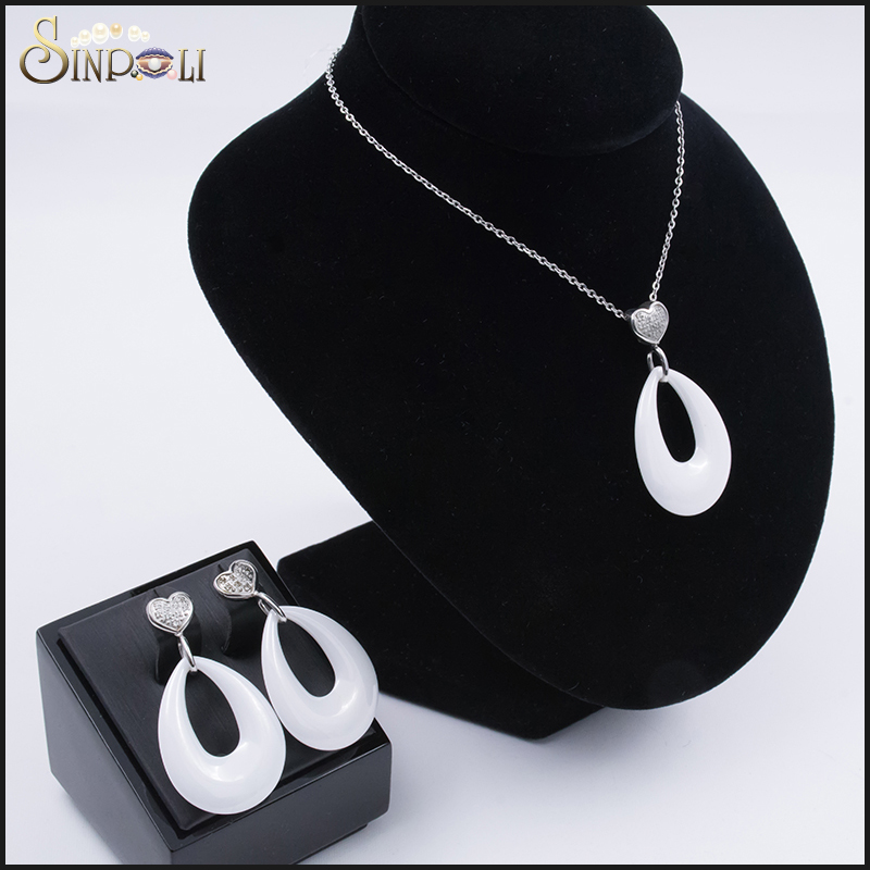 Best Quality Big Ceramic Heart Earring Set Necklace Set Of New Structure