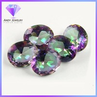 Wholesale synthetic oval cut mystic glass gems stones
