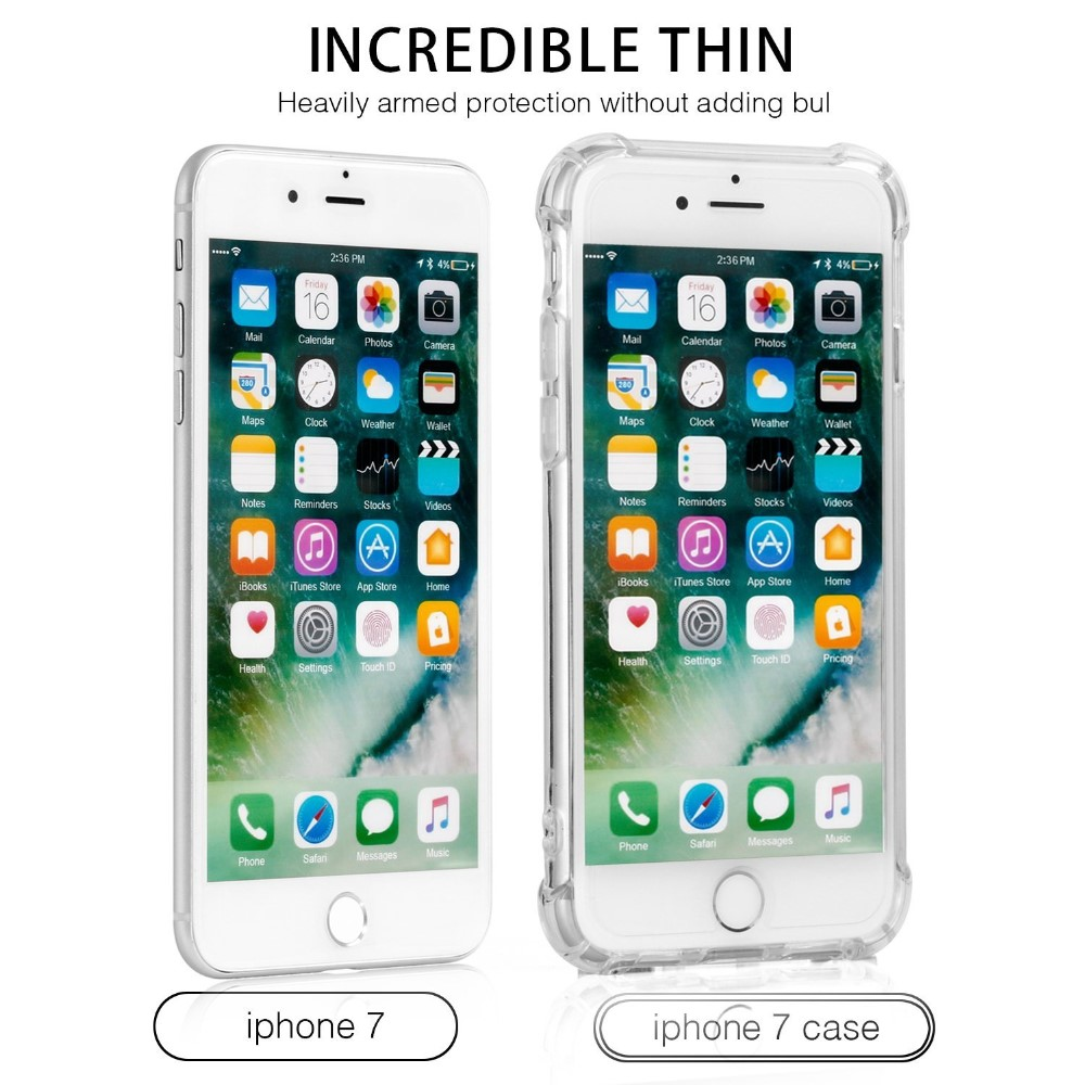 C&T Crystal Clear Shock Absorption Technology Bumper Soft TPU Cover Case for iPhone 7 Plus