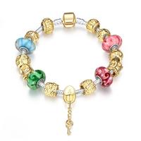 SJ Luxury Noble Bracelet Yellow Gold Glaze Bead Ethnic Style Magnet Buckle Key Pendant Women Bling Bead Charm Bracelet