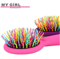 alibaba MY GIRL New design high quality hair brush Cheap folding plastic pocket hair brush with mirror