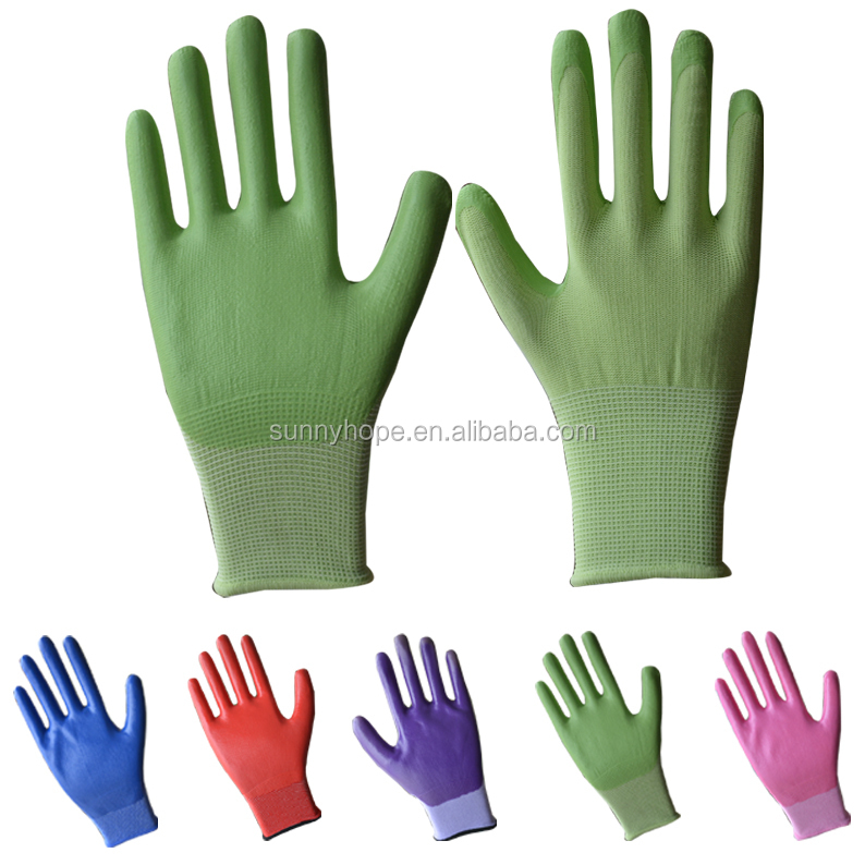 SunnyHope colorfull customized nylon liner 13g nitrile glove for gardening