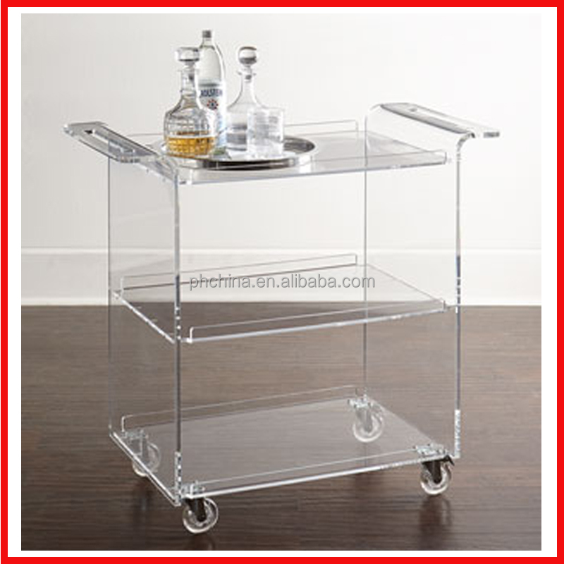 12mm Thick Acrylic Hotel Service Trolley/Acrylic Food Serving Cart/Acrylic Dining Serving Cart With Wheels