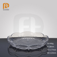 2016 Transparent Bead Points Elegant Glass Tableware Flat Base Peach Flower Mouth Plate