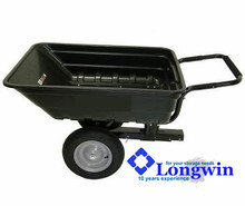 Poly Dump Cart Trailer Wheelbarrow Tow Behind Mower ATV