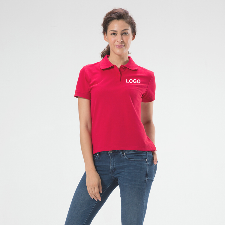 Wholesale Company logo Red Polo shirt For Womens 100% cotton Pique Quality Have stock cusotm Polo shirt