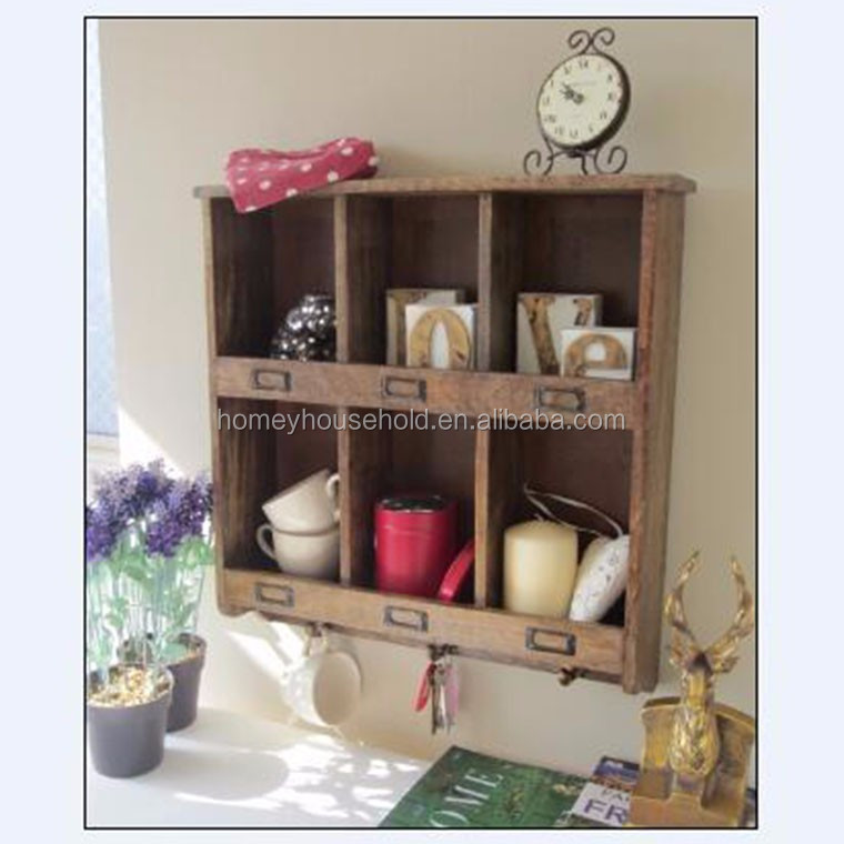 Kitchen Unfinished Solid Wood Shelf Storage Display Wall Hooks Crafts Furniture Wholesale