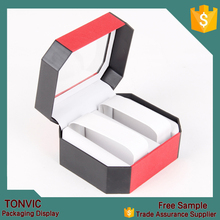 Top Quality Double Plastic Watch Box with Transparent Lid