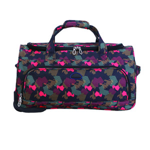 Sublimation printed pattern trolley bag rolling duffel spinner caster smart travel bag, weekend overnight sports duffle bag set