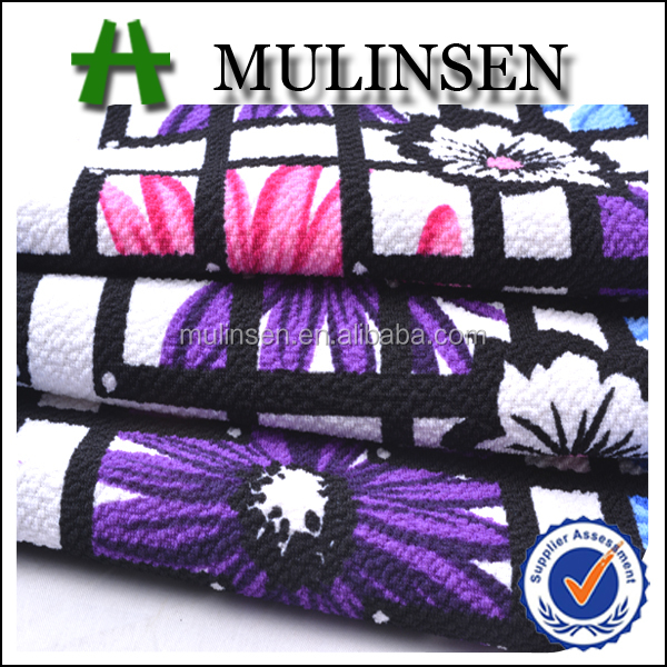 Mulinsen hot sell printing knitting fabric latest party gown design