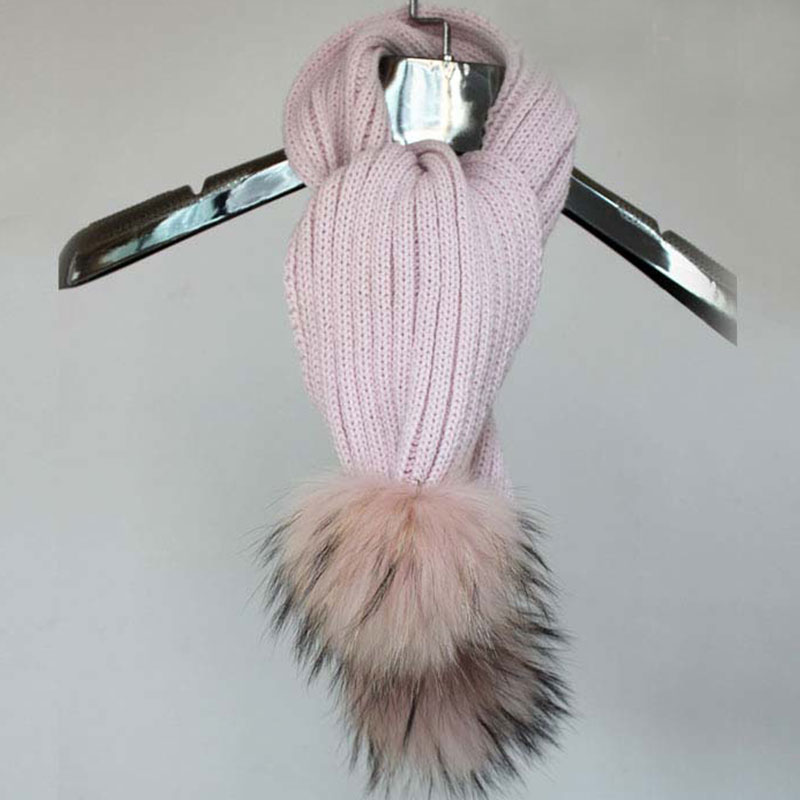 Myfur Baby Pink Striped Pattern Wool Crochet Scarf with Removable Raccoon Fur Balls