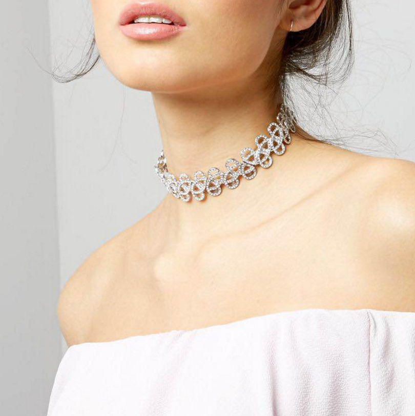 High quality original design beam neck full diamante choker hollow necklace