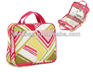 promotional printed flower portable travel bag nylon toiletry bag with handle for women