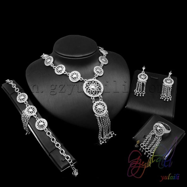 Nigerian 2016 latest bridal top quality platinum plated jewelry set for women