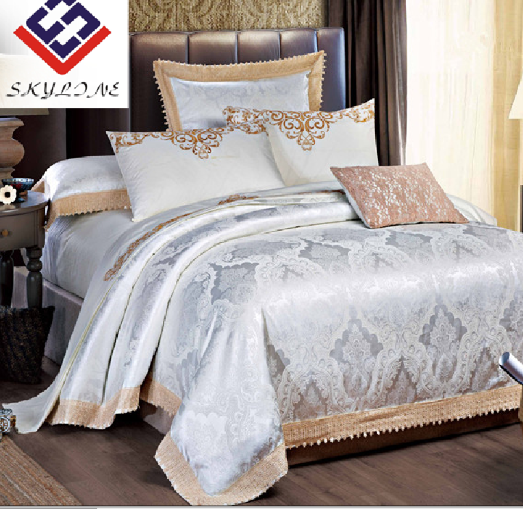 Luxurious reversible polycotton jacquard duvet cover and bedsheet bedding sets for hotel and home