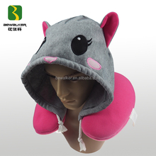 Wholesale Embroidery Animal Shape Travel Hoodie Neck Pillow