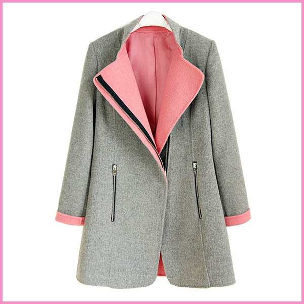 gl0302 grey color coat for ladies blazer middle lenght design,2pockets with zipper on front women coat