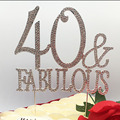 Customized Zinc alloyed silver plating Fabulous 40 50 60 70 80 rhinestone Cake Topper birthday