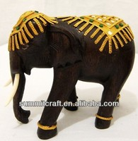 Thailand antique teak wood elephant carving