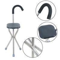 Folding walking stick seat crutch stool three legged canes