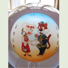 Hand painted ornamen inside painted glass ball