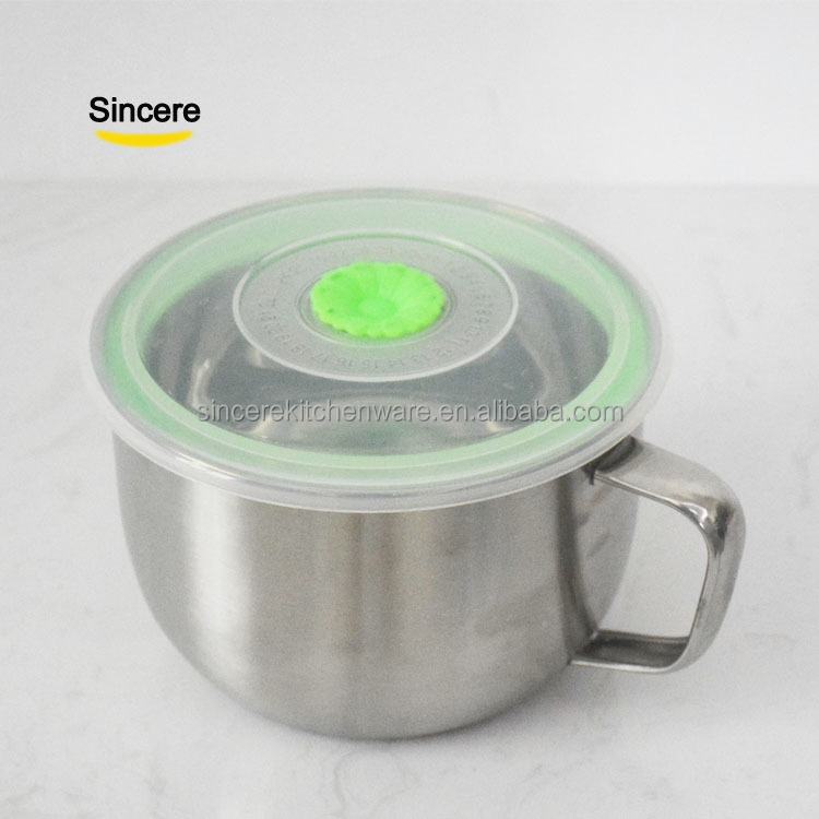 Sincere Noodle Bowl Stainless steel 304# Handle PP Green lid 15cm