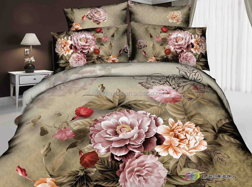 grande fleur de pivoine motif 3d ensemble de literie drap ensemble housse de couette grossiste. Black Bedroom Furniture Sets. Home Design Ideas