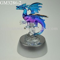 glass colourful western dragon with LED light
