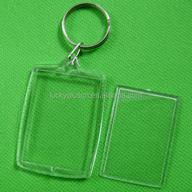 Transparent Blank Insert Photo Picture Frame acrylic Key ring Split Ring key chain