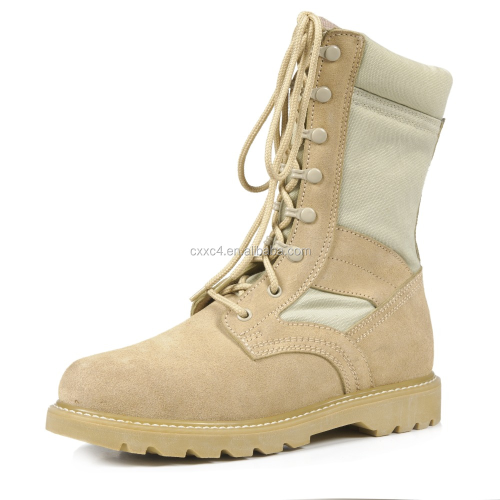 Military soft leather with rubber desert coyote boots