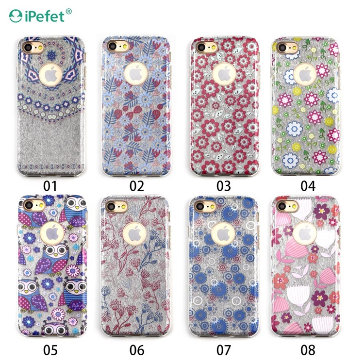 Custom pressed flower phone case TPU+PC back cover for iPhone 7