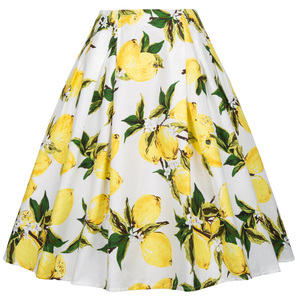Grace Karin Occident Women's Vintage Retro Floral Pattern Cotton 50s Lemon Print Skirt CL008925-12