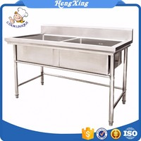 2017 China Supplier Kitchen Outdoor Stainless Steel 2 compartment Sink Table top sink