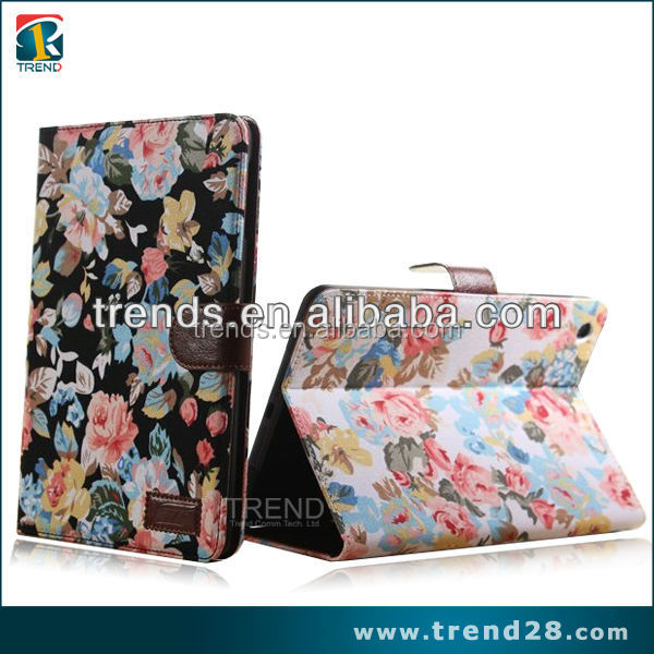 buy direct from china manufacture flower tablet leather case for ipad mini 2