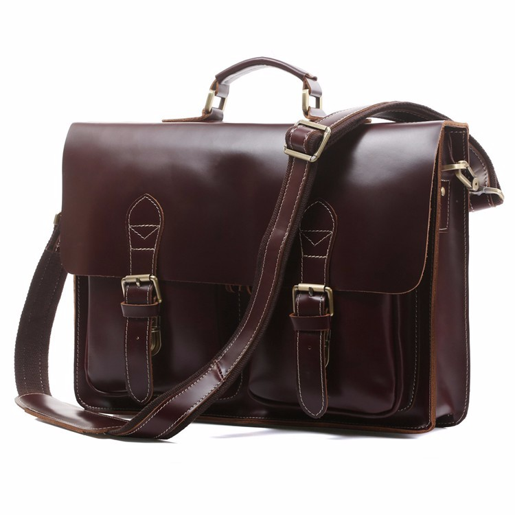 Hot Sale 17 Inch Men Genuine Cowhide Leather Briefcase Laptop Bag