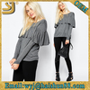 Plain ladies fashion designs grey and black cotton long sleeve elongated t shirt