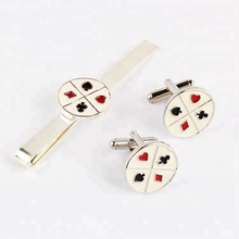 daihe fashion cheap card pattern casual cuff link and tie clip sets for men