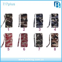 Camouflage flip leather wallet cell phone case for iphone 7 7plus