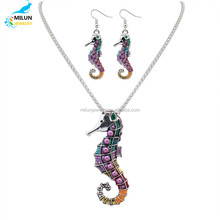 Silver Gold Rhinestone Pendant Necklace Colorful Animal Necklace Earring Sets Sea Horse on Party ladies jewelry set