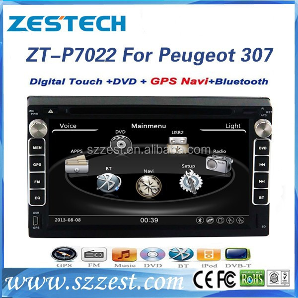 For Peugeot 307 double din lcd screen car radio car parts with Radio/3G/Bluetooth/ SWC/Visual-10 dics