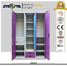 Promotional Fashionable Steel Almirah Wardrobe / Bicolor Steel Almirah with Mirror