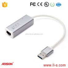 Silver USB 3.0 to RJ45 Gigabit Ethernet LAN Network Adapter