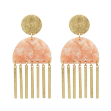 Pink half round cellulose acetate Godl ox Bar Pendant Tassel Dangle Earrings