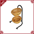 2 tier round floor standing bread basket display stand with wheels