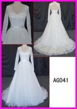 Brilliant long sleeves wedding dress with lace up beading ball grown wedding dress with back less